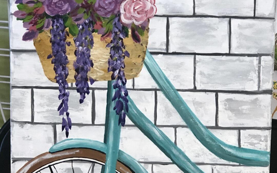 Teal Bike March Acrylic Painting Classes 18″X24″