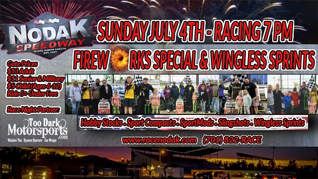 Nodak Speedway Series Annual Fireworks show for 4th of July